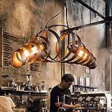 Colgante Retro Vintage Industrial Metal Colgante 2 Lámpara Cothing Tiendas Bar Antique E27 Araña