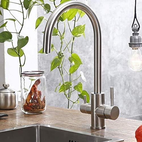 Mezclador Filtro De Agua Purificador De Agua Grifo De Cocina Agua Potable Faucet Grifo De Cocina para Lavamanos Taps 304 Grifo De Acero Inoxidable Cepillado