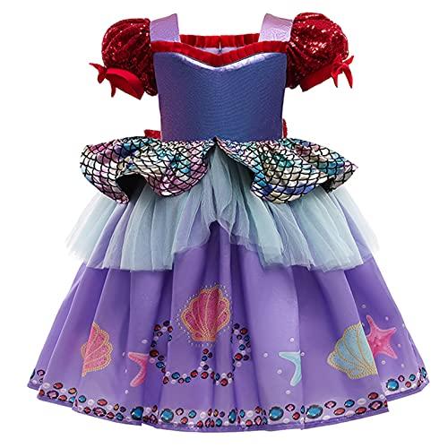 iiniim Vestido de Princesa para Niñas Vestido de Sirena Manga de Soplo Disfraz de Fiesta Morado Vestido de Verano Disfraz Halloween Morado 5-6 años