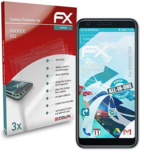 atFolix Schutzfolie kompatibel mit DOOGEE X53 Folie, ultraklare & Flexible FX Bildschirmschutzfolie (3X)