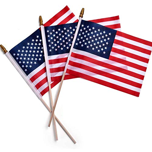Small American Flag 4x6 Inch-12 Sets, American Stick Flags/Grave Marker Flags/Small US Flag with Spear Top, Perfect for Parades, Scout Troops, Returning Servicemen, July 4th Decorations (12)