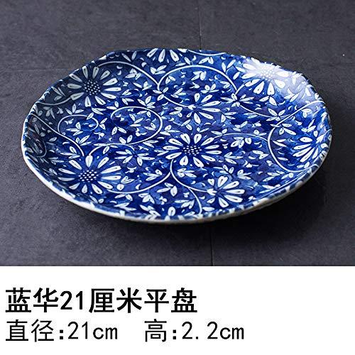 YUWANW Japon Vaisselle en Porcelaine Importée Plaque De Céramique des Importations Japonaises De Plat Dessert Saladier Plat, Bol Bleu Hua 21 Cm Plaque Plate