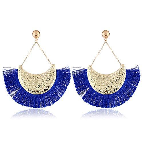 Arete Pendientes Mujer Fringe Boho Drop Dangle Earring Charms Vintage Ethnic Tassel Pendientes Llamativos Joyería De Moda-Royal_Blue