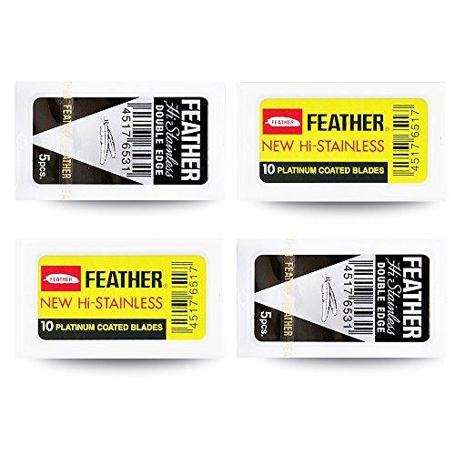 Feather 30 Rasierklingen im Set mit schwarzen Federn und gelben Federn