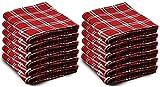 12 Pack of Bulk Soft Fleece Blankets 50 X 60, Cozy Warm Throw Blanket Sofa Travel Outdoor, Wholesale (50 X 60, 12 Red Plaid)