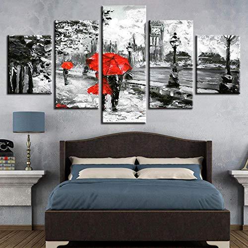 QZWXEC 5 Piezas Pintura Wall Art Amante de la sombrilla roja London Street Rain View Arte de Pared impresión en Lienzo Arte Moderno para decoración del hogar Talla:150X80Cm con Marco