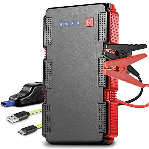 Buyi-World 800A Starthilfe Powerbank (4.0L Gas / 2.4L Dieselmotoren), Ultrasafe Tragbarer Lithium-Autostarter Pack Batterie-Booster mit Intelligenten Batterieklemmen für 12V Automotorräder