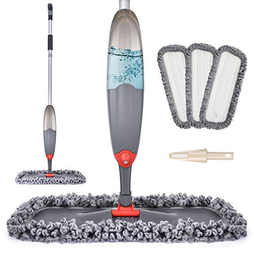 Spray Mop for Floor Cleaning, Domi-patrol Microfiber Floor Mop Dry Wet Mop Spray with 3 Washable Mop Pads & 635ML Refillable Bottle, Dust Cleaning Mop for Hardwood Laminate Tile Floors, Black