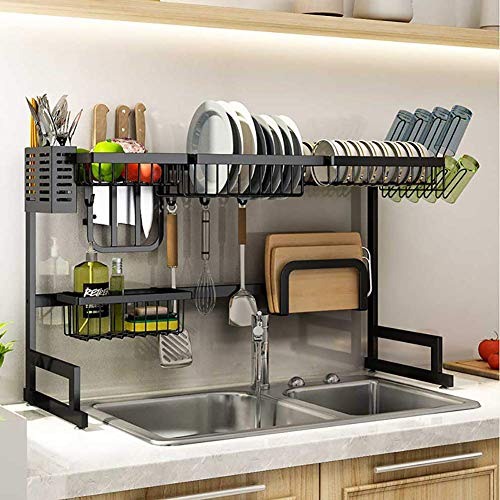 GOHHK Dish Drying Rack With Cup Holder,over Sink Dish Rack Organizer Stainless Steel,counter Dish Drainer Shelf Kitchen Black 85cm(33inch)