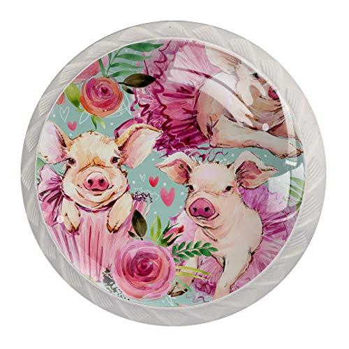 (4 piezas) pomos de cajón para cajones, tiradores de cristal para gabinete, hogar, oficina, armario, acuarela, bonito cerdo, rosa, estampado floral de 35 mm