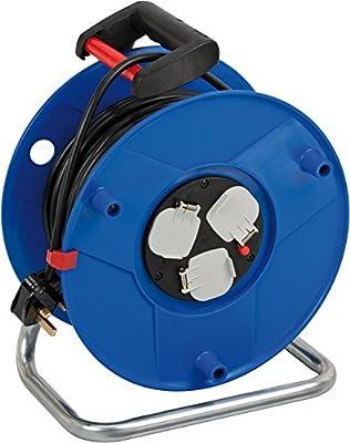 Brennenstuhl 1208063 Garant 3-Way Socket Outlet Reel (50m Length, Ergonomic Handle), Cable Colour: Black, 290 mm Dia