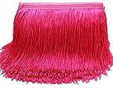 Yalulu 10 metros de largo y 15 cm de ancho, borla sedosa, flecos cortados para disfraz, accesorio de costura (rojo rosa)