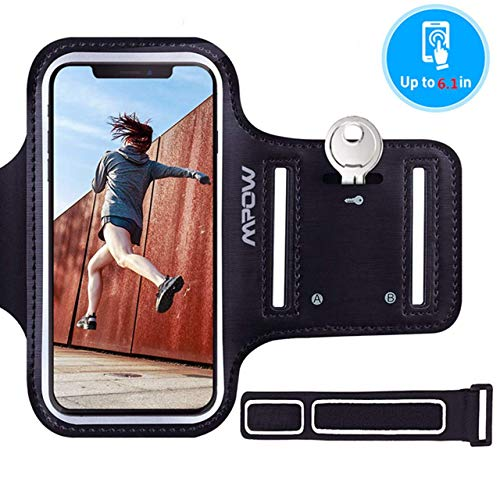 Mpow Sportarmband Handy für iPhone 11 11 Pro XS XR X 8 7 6s 6, Samsung S9 S8 Bis zu 6,1 Zoll, Schweißfest Sportarmband Hülle mit Schlüsselhalter, Verlängerungsband und Reflekltierendes Band