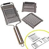 LIN-Reliable Küchen-Edelstahlreibe, Mandolinenschneider, mit ergonomischem Griff und 3 austauschbaren Klingen für Zitrone, Schokolade