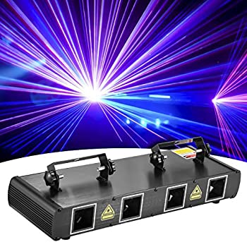 DJ Lights BSYUN 2021 Version 4 Lens RGBY Sound Activated DJ Led Projector Party Lights Compatible with DMX512 Controller for Birthday Disco Dance Events Show  Black
