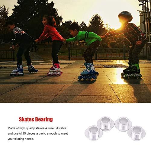 Lantro JS 15 Stück Silver Skate Bearing Spacer, Skate Rolling Smooth, Hohe Qualität für Skate Wheels Wheel Bearing