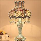 Dightyoho Lámpara Escritorio lámpara de Mesa de Estilo Europeo lámpara de Noche para Dormitorio lámpara de Mesa de Resina Minimalista Moderna Creativa Interruptor de botón (Color:Amarillo)