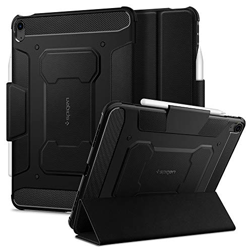 Spigen Rugged Armor Pro Designed for iPad Air 4th Generation 10.9 Inch Case with Pencil Holder/Trifold Stand (2020) - Black