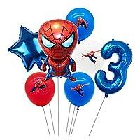 バルーン スパイダー漫画マンホイル風船1 2 3 4 5 6 7 8 9歳の誕生日パーティーデコレーションナンバーバルーンスターキッズトイズ (Color : 4)