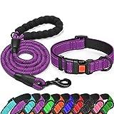 "tobeDRI Reflective Nylon Dog Collar – Soft Neoprene Padded, Reflective and Adjustable - Dog Collars for Small Medium Large Dogs (Collar+Leash M-Neck 15""-18"", Purple)"