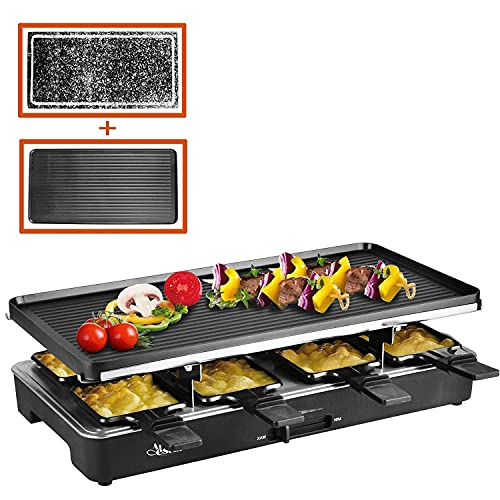 Artestia Raclette Table Grill, Table Grill Korean with Natural Cooking Grill Stone, Non-Stick Reversible Grill Plate and Removable Mini Pans, Ideal BBQ Table Grill for Parties and Family Fun