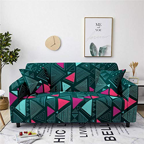 Sofa Cover Stretch Elastic Blue Pink Geometry Printed Sofa Slipcover 4 Seater Polyester Spandex Furniture Decorative Soft Loveseat Couch Covers Chair Protector for Pets Kids Sofa Covers