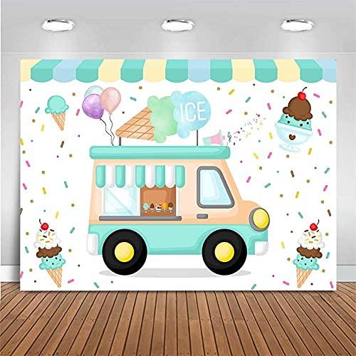 Telón de Fondo recién Nacido bebé Dibujos Animados Helado Fiesta de cumpleaños decoración fotografía telón de Fondo Estudio fotográfico Fondo A1 7x5ft / 2,1x1,5 m