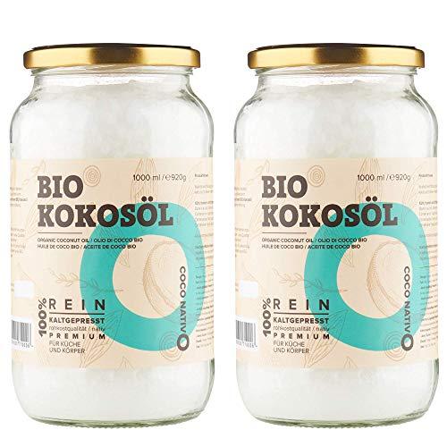 Bio Kokosöl CocoNativo - 2x1000mL(1L) - Bio Kokosfett, Kokosnussöl, Premium, Nativ, Kaltgepresst, Rohkostqualität, Rein zum Kochen, Braten und Backen, für Haare und Haut