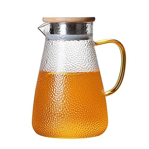 Dcolor Tetera de Vidrio para Agua FríA, Jarra de Agua para Té con Jugo de Fruta Helado, Jarra de Vidrio para Agua con Asa, Jarra de Agua FríA, 1000 Ml