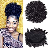 BuLaDou High Afro Puff Drawstring Ponytail Short Kinky Curly Human Hair Bun Clip in on Wrap Updo Hairpieces for African American Women Natural Color 6inch