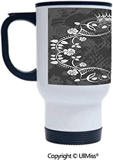 Stylish Stainless Steel Attractive And Distinctive Design 14OZ Travel Mug Cup Delicate Victorian Antique Circular Flora with Crown Vintage Grunge Rusted Royal,Black and White Suitable For Hot And Col