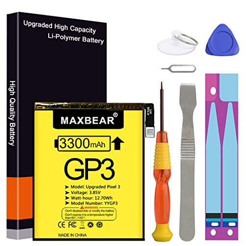 Google Pixel 3 Battery, (Upgraded) MAXBEAR 3300mAh 3.85V Li-Polymer Replacement Battery for HTC Google Pixel 3 G013A 823-00073-01 with Repair Tool Kit