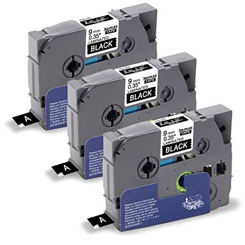 Xemax Compatible Cinta 9mm x 8m Reemplazo para Brother P-Touch Tze-325 Tz-325 Blanco sobre Negro Laminado Casete para PT-H105 PT-H101C PT-1010 PT-D450VP PT-D600VP PT-P700 PT-E100 PT-P750W, 3-Pack