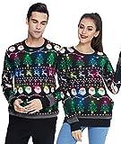 Idgreatim Heren Led Licht Ugly Christmas Sweater Weihnachtspullover Lustiger hässlicher Pullover mit Rundhalsausschnitt für Weihnachten Schwarz M