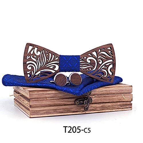 Der vorgebundene Bogen der Männer Handgefertigte Massivholz Qualität Log Custom Holz Fliege europäischen und amerikanischen Trend Tie Set Krawatten für Hochzeitsfeier ( Farbe : 5 , Größe : Free size )