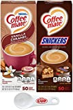 Nestle Coffee mate Liquid Coffee Creamer Singles Variety Pack, Snickers, Vanilla Caramel, 50 Ct Box (Pack of 2) with By The Cup Coffee Scoop