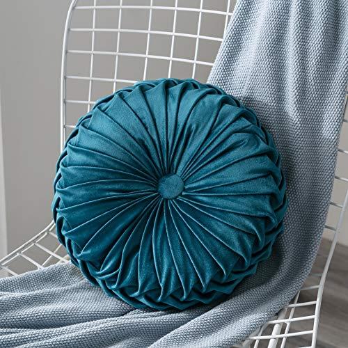 Lucoss Zierkissen Home 35cm rundes Wurfkissen Handgefertigtes Kürbissamt Samt Dekoratives Rückenkissen Kissen für Couch Wohnzimmer Stuhl Couch Schlafsofa (Navy blau)