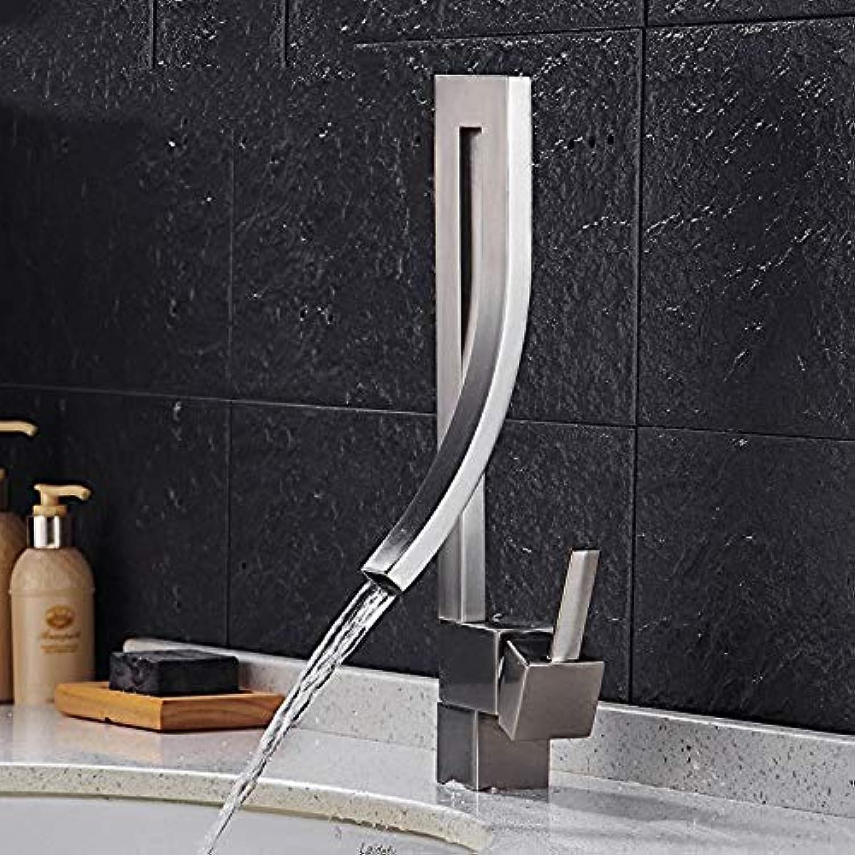 Verchromter Messinghahn-Badezimmer-Badezimmer-Kupfer gebürsteter quadratischer Becken-heier und kalter Wasserhahn-Becken-Hahn