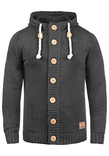 !Solid Peer Herren Strickjacke Cardigan Grobstrick Winter Pullover mit Kapuze, Größe:L, Farbe:Dark Grey Melange (8288)