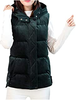 Women's Velvet Puffer Vest Lightweight Quilted Padded Vest Hooded Zip Up Outwear Gilet