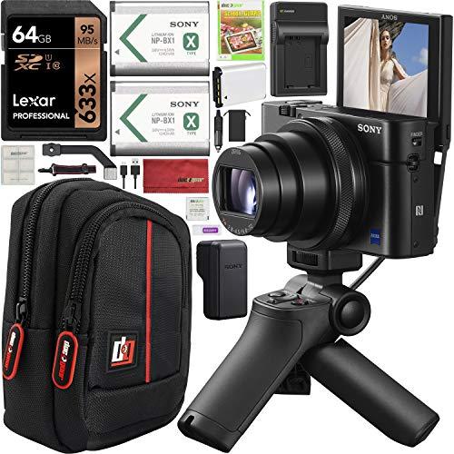 Sony Cyber-Shot RX100 VII RX100M7 4K Digital Camera DSC-RX100M7G Vlogging Shooting Grip Bundle VCT-SGR1 Grip Tripod + Triple Battery + 64GB Memory Card + Deco Gear Case and Kit Accessories