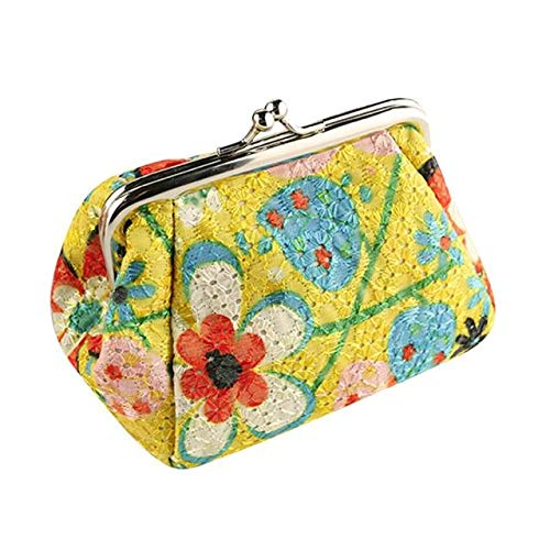 Frauen Dame Vintage Flower Printed Small Wallet Hasp Geldbörse Clutch Bag(Gelb)