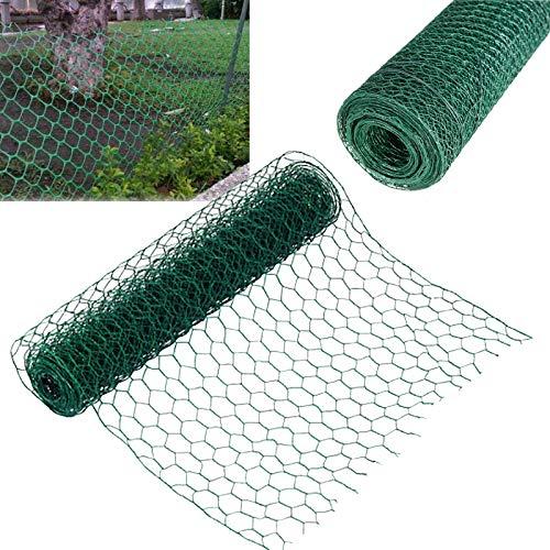 Malla de alambre hexagonal de 2,60 cm x 50 m, con revestimiento de PVC de 0,9 mm de diámetro de alambre galvanizado inoxidable, ideal para conejos, pollo, correr, perro, aviario, jardín, malla de tela