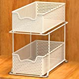 Simple Houseware 2 Tier Sliding Cabinet Basket Organizer Drawer, White
