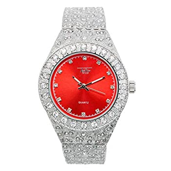 Mens 44mm Silver Hip Hop Iced Out Diamond Link Watch with Cubic Zirconia Crystals and Blinged Out Nugget Band - Quartz Movement - Resizeable Links  Red Dial