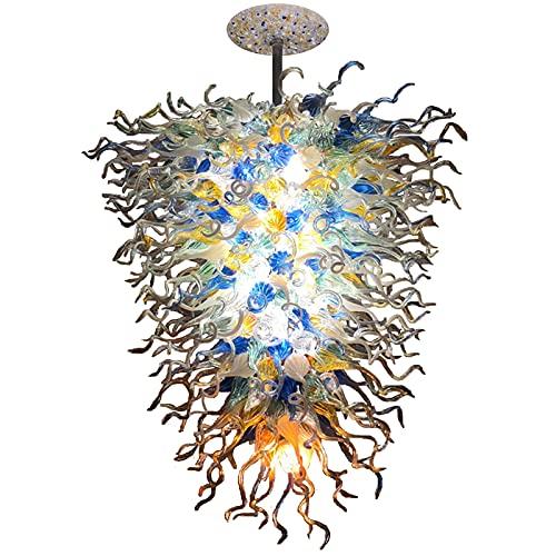 Freigwind Grandes Lámparas De Araña Multicolor Iluminación De Arte Lámparas De Araña De Vidrio Soplado A Mano Luces LED para La Decoración del Salón del Hotel-Warm White W100xh140cm