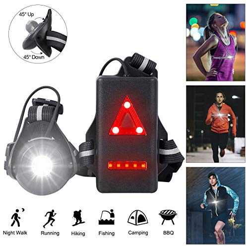 Night Running Lights, USB Rechargeable Chest Light with 90° Adjustable Beam Angle, 500 Lumens Waterproof Ultra Bright Safety Warning Lamp with Reflective Straps for Runner Jogger Camping