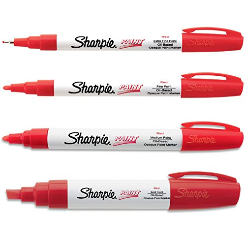Sharpie Paint Marker Oil Based Red All Sizes Kit with Ex Fine, Fine, Medium & Bold