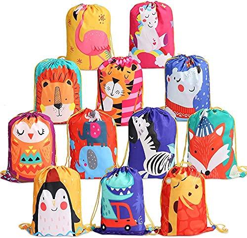 kramow 12 Mochila con Cordón para Niños Niños Niñas,Bolsas de Cuerdas para Infantils,Party Bolsas Fiesta de Cumpleaños Navidad Regalos