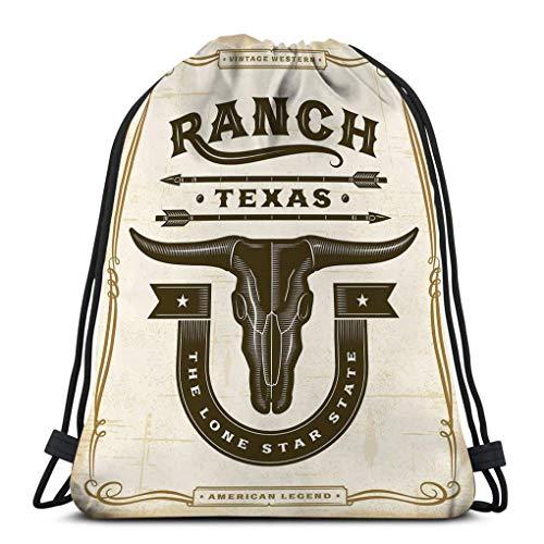 KKs-Shop Kordelzug Rucksack Sport-Sporttasche für Frauen Männer Vintage Western Ranch Label Holzschnitt Stil Bearbeitbare Eps Transparenz Vintage Western Ranch